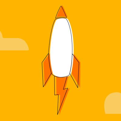Um foguete decolando em comparação ao mundo de serviços financeiros oferecidos por startups